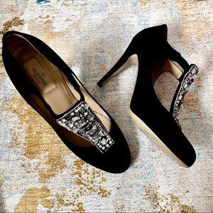 Valentino Black Suede Crystal Diamanté Heel sz39